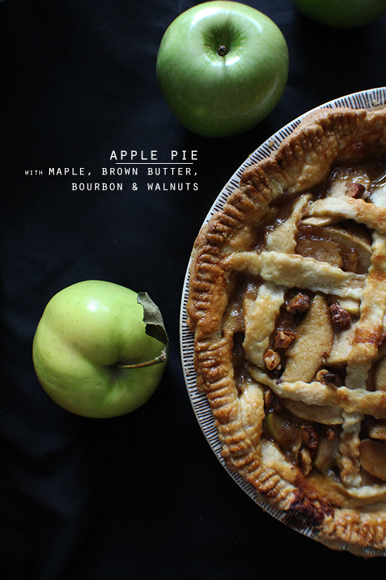 Maple brown butter bourbon apple pie with toasted walnuts.