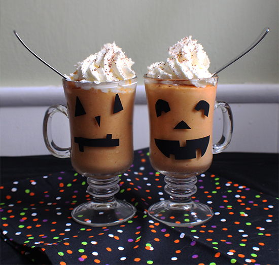 Jack-O-Lantern puddings! With a DIY for cute jack-o-lantern glasses.