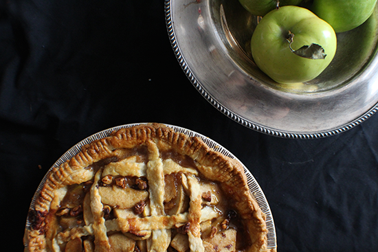 Maple brown butter bourbon apple pie, with toasted walnuts.