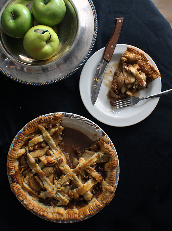 Maple brown butter bourbon apple pie... with toasted walnuts.