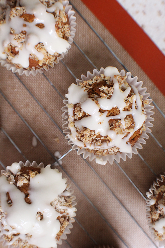 Pumpkin streusel muffins with cream cheese icing.