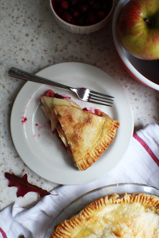 Apple-cranberry pie; like apple pie with cranberry sauce!