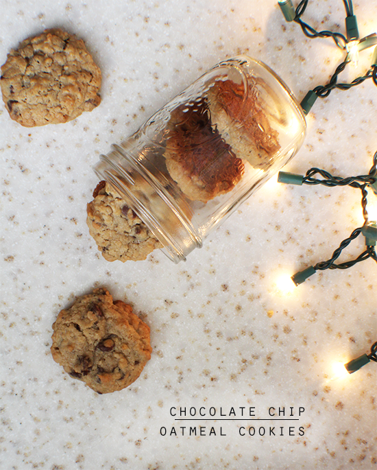 Chocolate chip oatmeal cookies. A Christmas cookie classic.