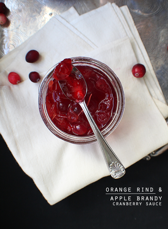 Orange rind and apple brandy cranberry sauce.