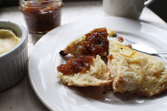 Simple scones with caramel ginger pear jam and vanilla butter.