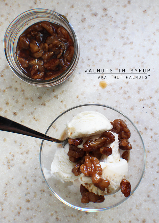 Walnuts in syrup, aka wet walnuts.