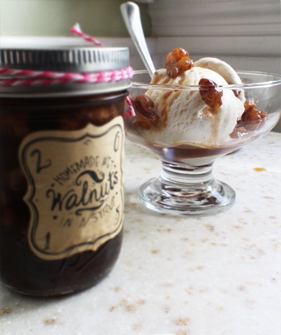 Walnuts in syrup aka wet walnuts! A delicious sundae topping and DIY gift idea!