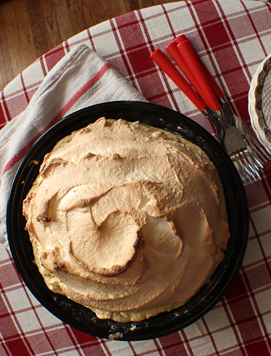 Butterscotch pie with toasted meringue.