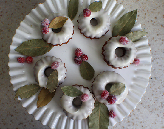 Mini-bundt gingerbread cakes with sugared cranberries.