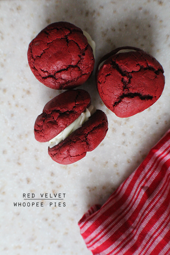Red velvet whoopee pies! With cream cheese frosting filling.