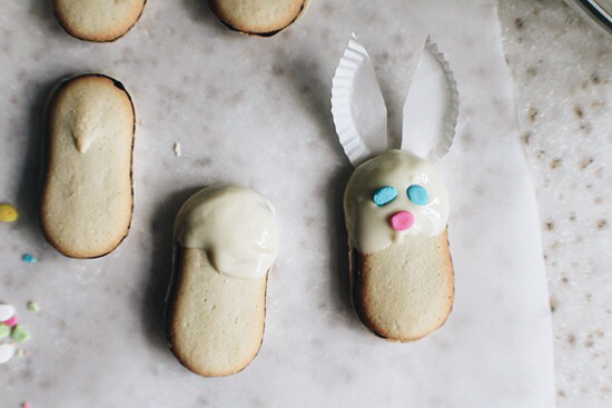 Easter bunny cookies.