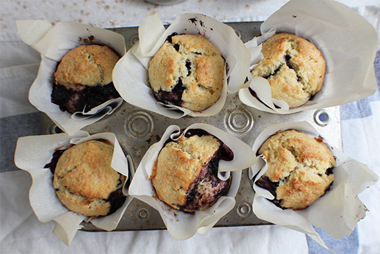 Blueberry honey & mint jam muffins, using the best muffin base EVER.