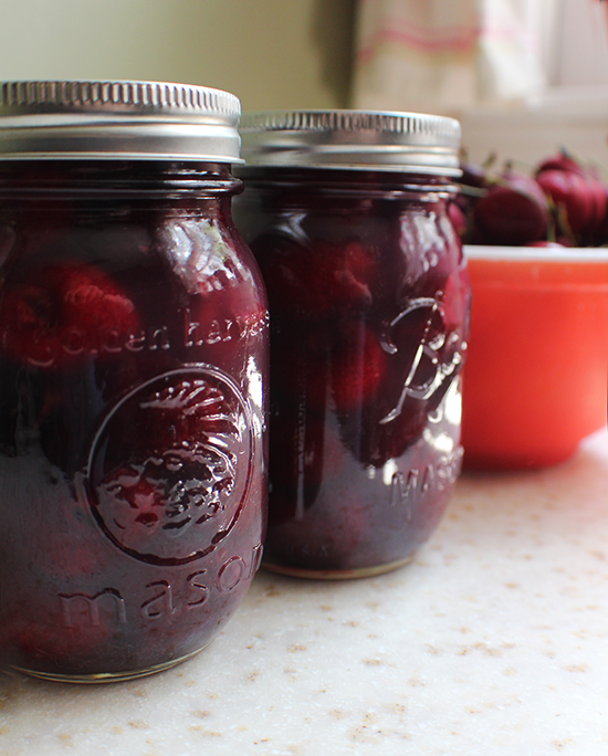 Canned cherries in coconut syrup.