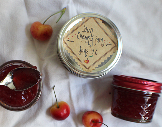 Sour cherry jam made with Pomona's.