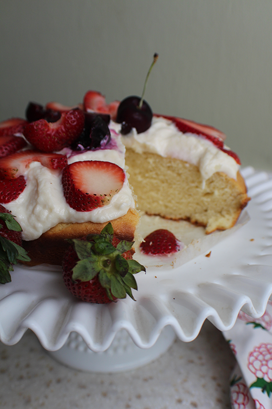 Almond ricotta cannoli cake with fruit.