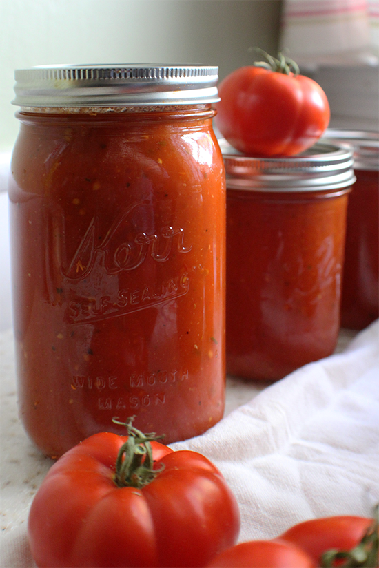 Canned homemade tomato sauce.