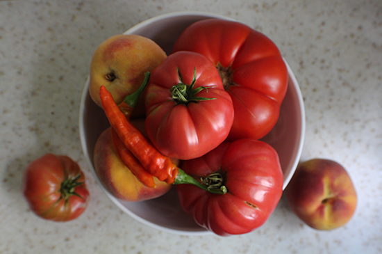 Tomatoes and peaches (and a recipe for hot tomato peach jam)